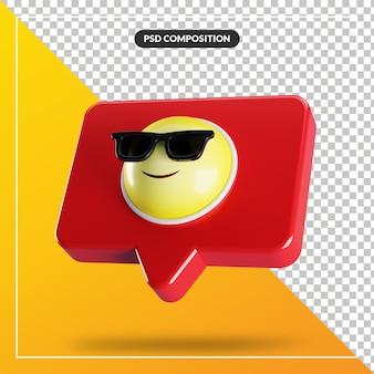 Rosto sorridente com o símbolo de emoji de óculos de sol no balão Psd Premium