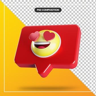 Rosto sorridente com o símbolo do emoji dos olhos do coração no balão