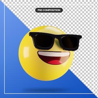 Rosto sorridente de emoji 3d com óculos de sol isolados para composição de mídia social