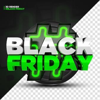 Rótulo 3d render green black friday com luzes led isoladas para composição