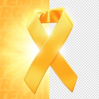 Rótulo de fita amarela de setembro 3d render para composição psd premium