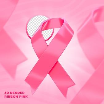 Rótulo de fita rosa de outubro renderização 3d para composição