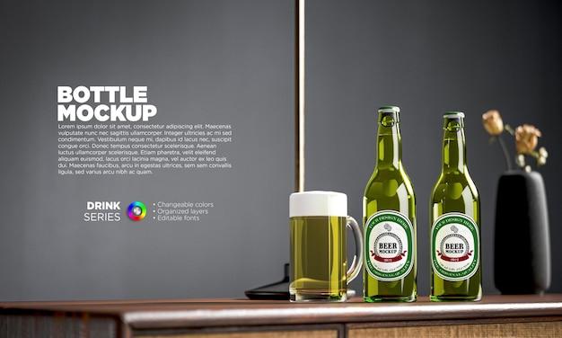 Rótulo de garrafa de cerveja maquete em renderização 3d