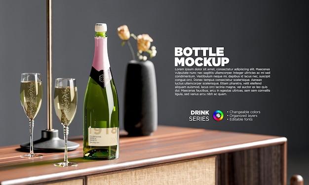Rótulo de garrafa de champanhe de maquete em renderização 3d