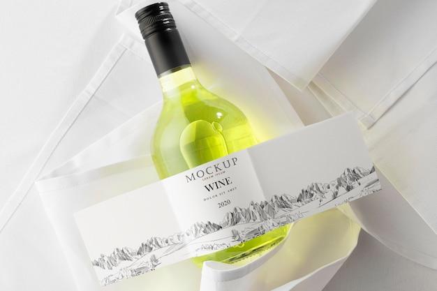 Rótulo de garrafa de vinho mock up lay flat