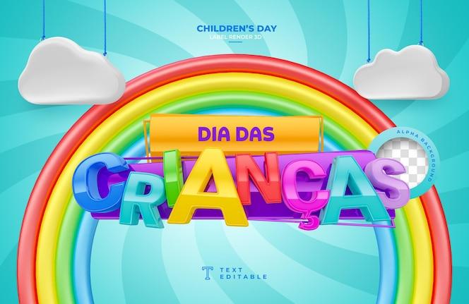 Rótulo dia da criança 3d render no brasil, modelo de design em português
