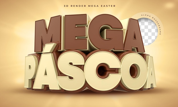 Rótulo mega páscoa no brasil 3d render