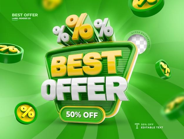Rótulo melhor oferta 50% de desconto no ícone de renderização 3d