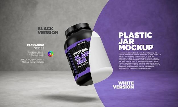 Rótulo mockup frasco de proteína flutuante