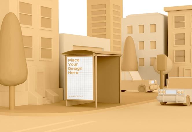 Rua low poly com maquete de publicidade de ponto de ônibus