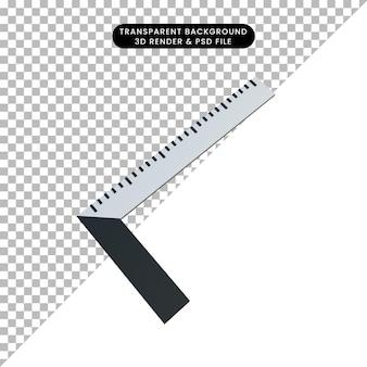 Ruller de construção de objeto simples de ilustração 3d