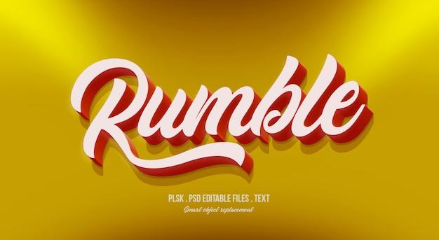 Rumble maquete de efeito de estilo de texto 3d