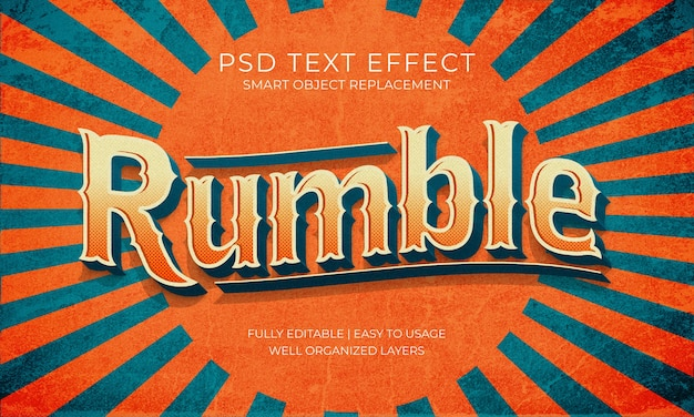 Rumble retro text effect
