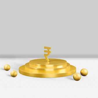 Rupee gold icon isolated 3d render