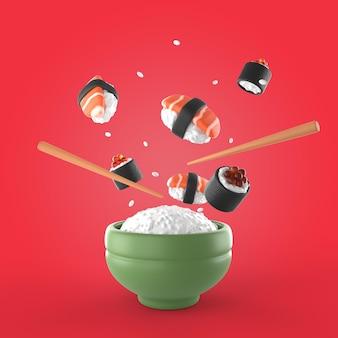 Saborosa maquete de renderização de sushi