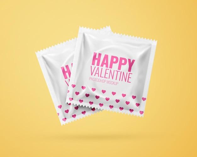 Sachê de maquete de preservativo realista