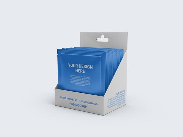 Sachê de maquete em uma embalagem de caixa de exposição