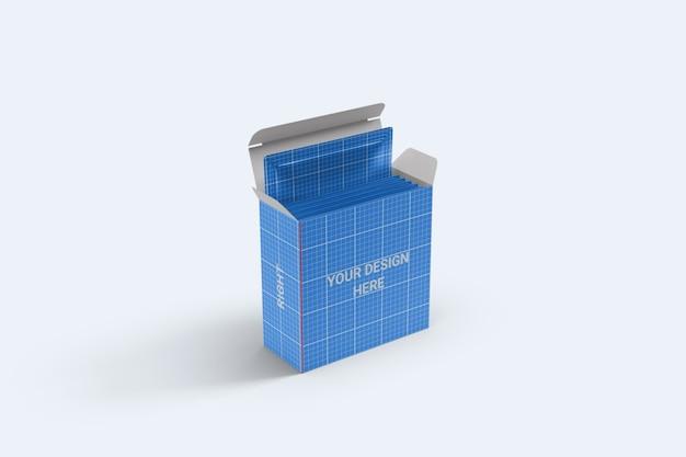 Sachê quadrado com maquete de embalagem de caixa