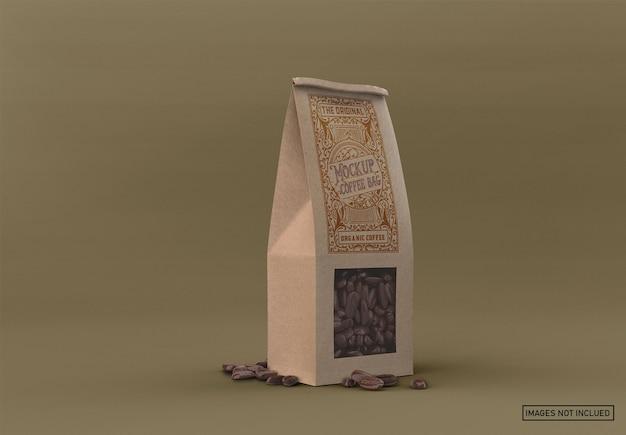 Saco de café de papel com maquete de janela