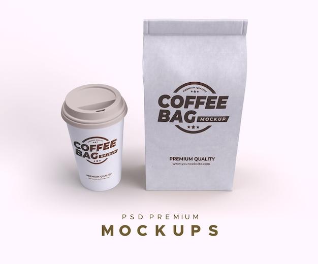 Saco de café e xícara maquete