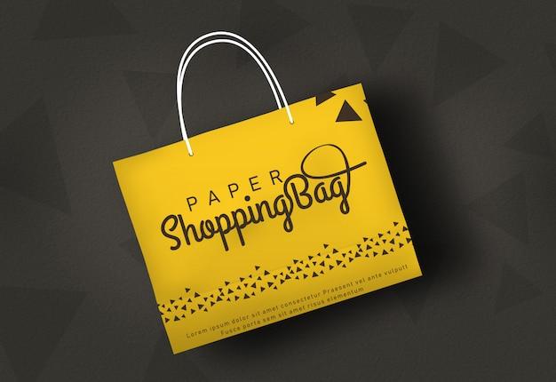 Saco de compras mockup saco de papel maquete amarelo shopping bag