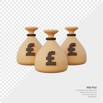 Saco de dinheiro em libra esterlina britânica