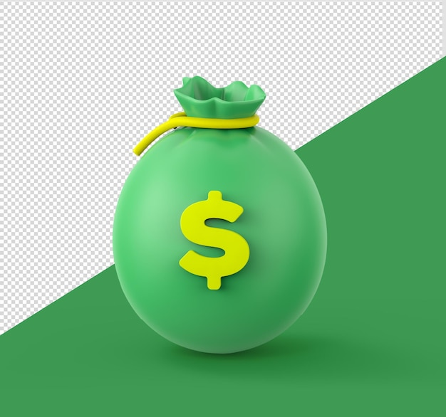 Saco de dinheiro renderização em 3d