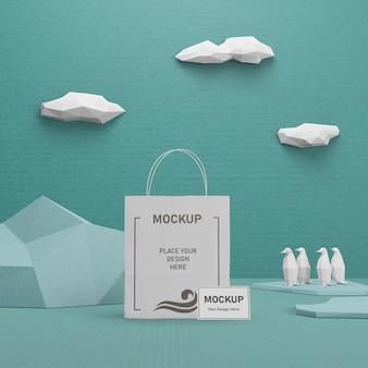 Saco de papel ambiental para o dia do oceano