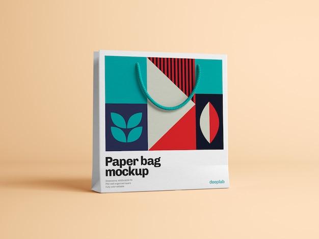 Saco de papel com maquete de design editável psd