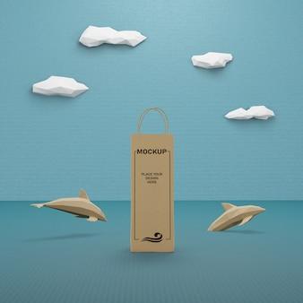 Saco de papel e conceito de vida marinha com maquete