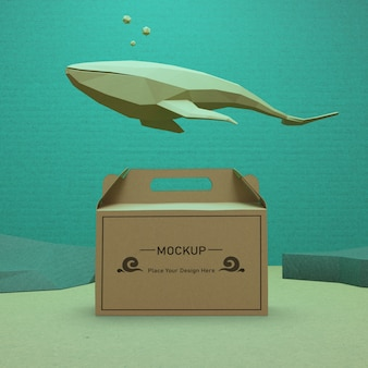 Saco de papel kraft debaixo d'água para o dia do oceano