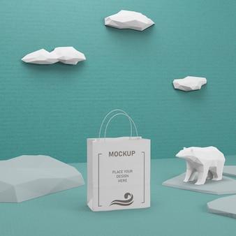 Saco de papel sustentável com maquete