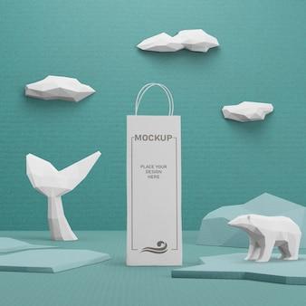 Saco de papel sustentável kraft para o dia do oceano