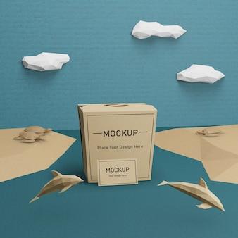 Saco de papel sustentável para o dia do oceano