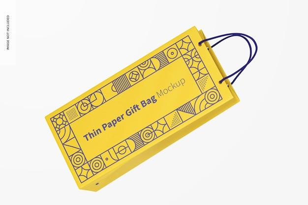 Saco de presente de papel fino com maquete de alça de corda, flutuante