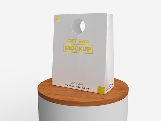 Saco de textura realista para presente especial para marca e maquete de display de madeira