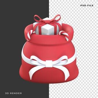 Saco do papai noel 3d com caixa de presente candy cane renderizado em fundo transparente