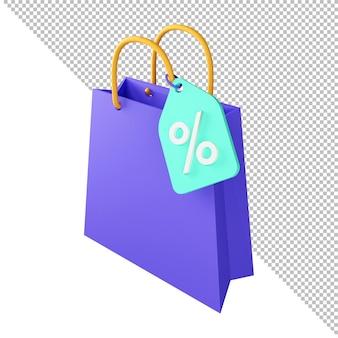 Sacola de compras com renderização em 3d com desconto percentual na liquidação da oferta