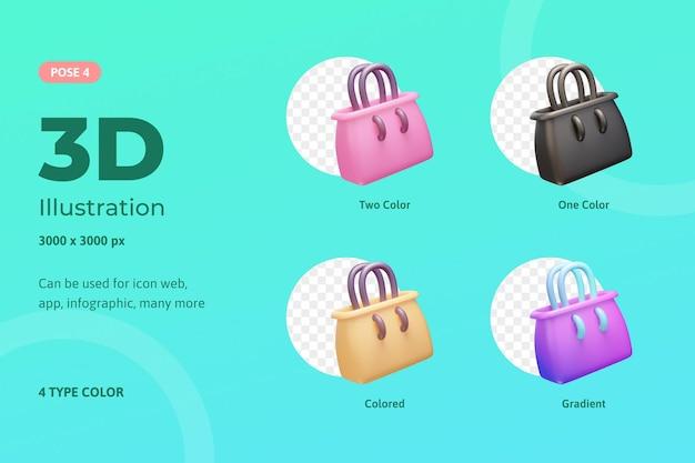Sacola de ilustração de ícone conjunto 3d, usada para web, aplicativos móveis, infográfico, etc.