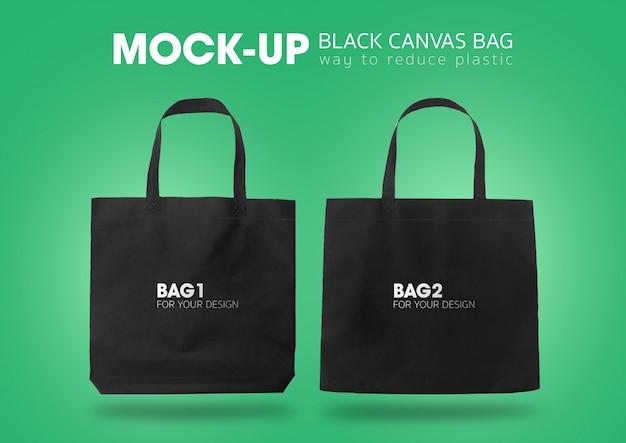 Sacos de compras de sacola preta mock-up