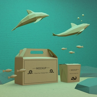 Sacos de papel com golfinhos para o dia do oceano
