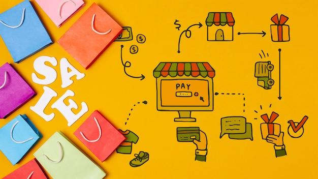 Sacos de papel com texto de venda em fundo amarelo