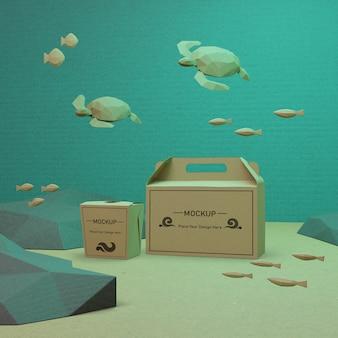Sacos de papel dia oceano com tartarugas debaixo d'água