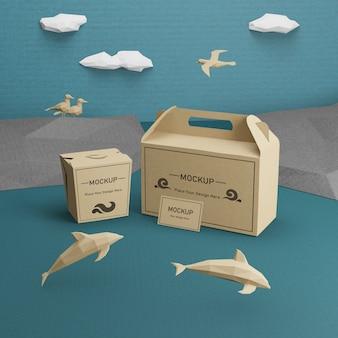 Sacos de papel kraft com maquete de golfinhos
