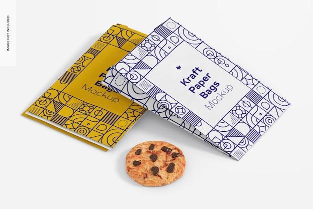 Sacos de papel kraft com modelo de biscoito, visão em perspectiva