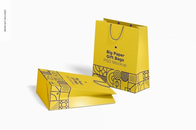 Sacos grandes de papel para presente com maquete de alça de corda, caídos