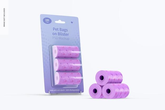 Sacos para animais de estimação em blister mockup, leaned