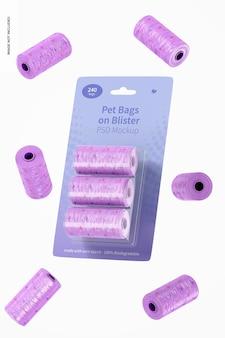 Sacos para animais em maquete de bolha, queda