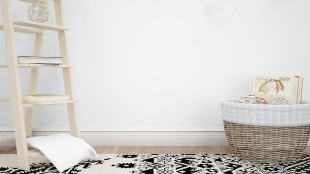 Sala com elementos decorativos e parede branca com copyspace