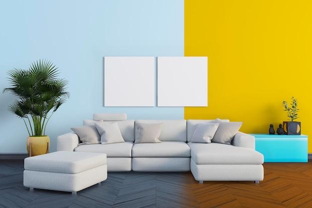 Sala com sofá grande